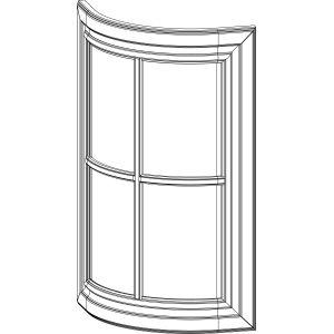 Радиусный фасад с решетчатым витражом