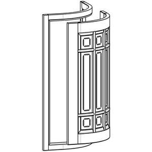 Радиусный фасад с витражом в рамке