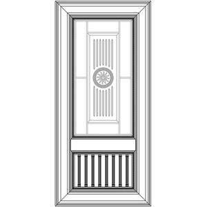 Комбинированный фасад с решеткой и витражом